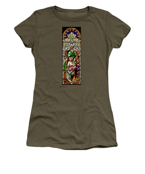 Women's T-Shirt (Junior Cut) featuring the photograph Stained Glass Scene 11 Crop by Adam Jewell