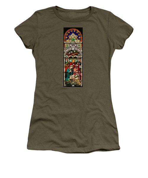 Women's T-Shirt (Junior Cut) featuring the photograph Stained Glass Scene 4 - 2 by Adam Jewell
