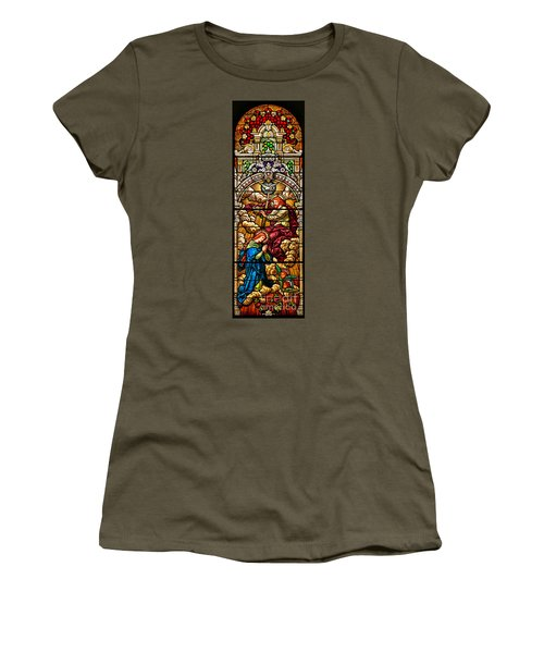 Women's T-Shirt (Junior Cut) featuring the photograph Stained Glass Scene 7 Crops by Adam Jewell