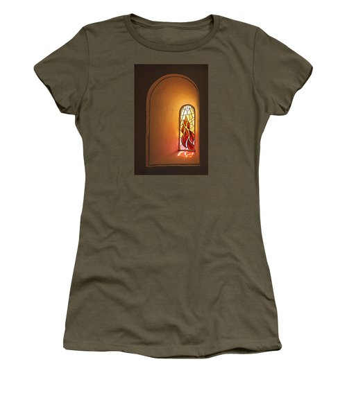Women's T-Shirt (Junior Cut) featuring the photograph Stained Glass Window by Inge Riis McDonald