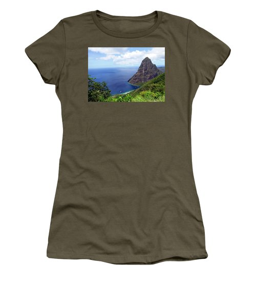 Women's T-Shirt (Junior Cut) featuring the photograph Stairway To Heaven View, Pitons, St. Lucia by Kurt Van Wagner