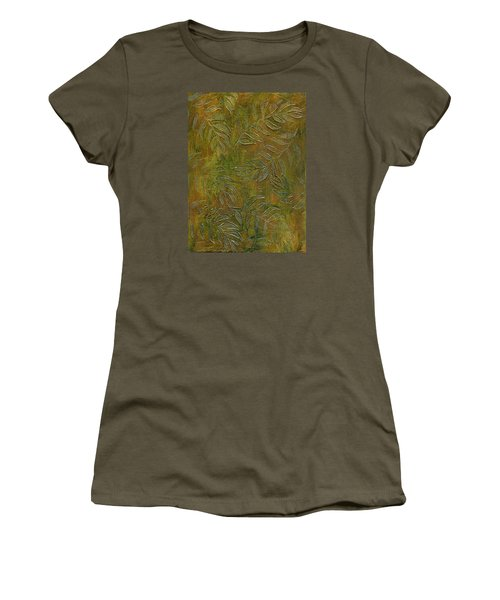 Stamped Textured Leaves Women's T-Shirt (Junior Cut) by Sandra Foster