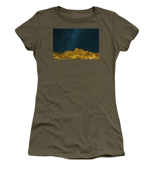 Starry Night Sky Over Rocky Landscape Women's T-Shirt (Athletic Fit)