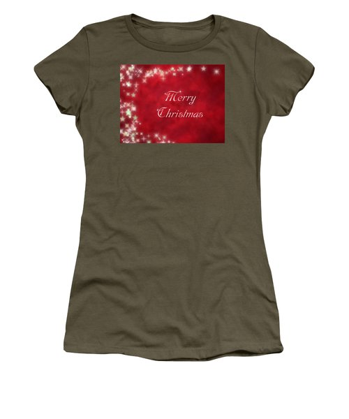 Starry Red Card With Merry Christmas Message Women's T-Shirt