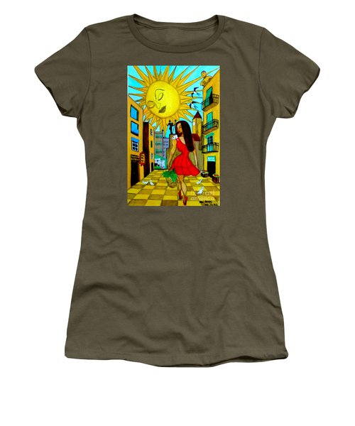 Women's T-Shirt (Junior Cut) featuring the painting Starting A New Day by Don Pedro De Gracia