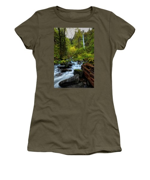 Women's T-Shirt (Junior Cut) featuring the photograph Starvation Creek And Falls by Ryan Manuel