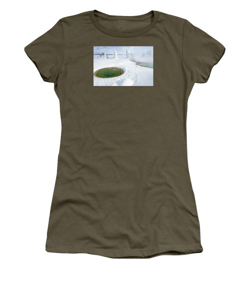 Women's T-Shirt (Junior Cut) featuring the photograph Steam And Snow by Gary Lengyel