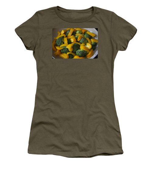 Women's T-Shirt (Athletic Fit) featuring the photograph Steamed Broccoli And Peppers by Vadim Levin
