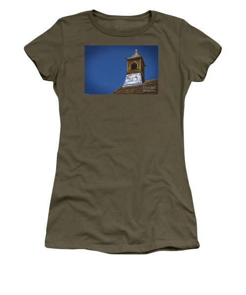 Women's T-Shirt (Junior Cut) featuring the photograph Steeple And Moon by Mitch Shindelbower