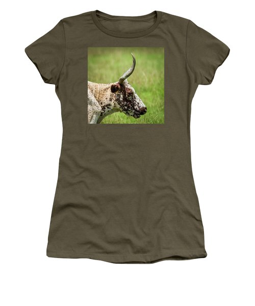 Women's T-Shirt (Junior Cut) featuring the photograph Steer Portrait by Paul Freidlund