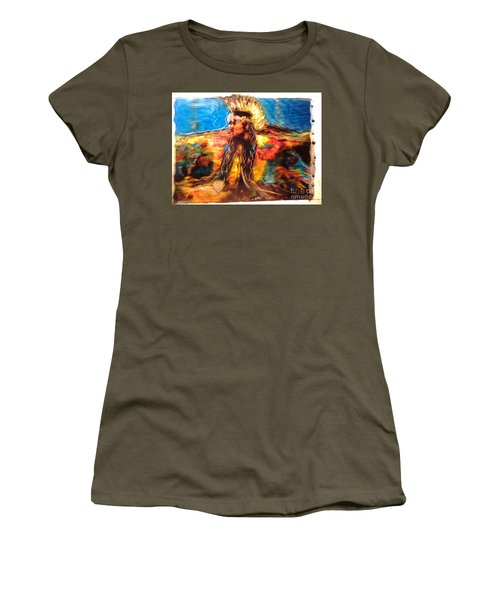 Women's T-Shirt (Junior Cut) featuring the painting Stepping Into The Soul by FeatherStone Studio Julie A Miller