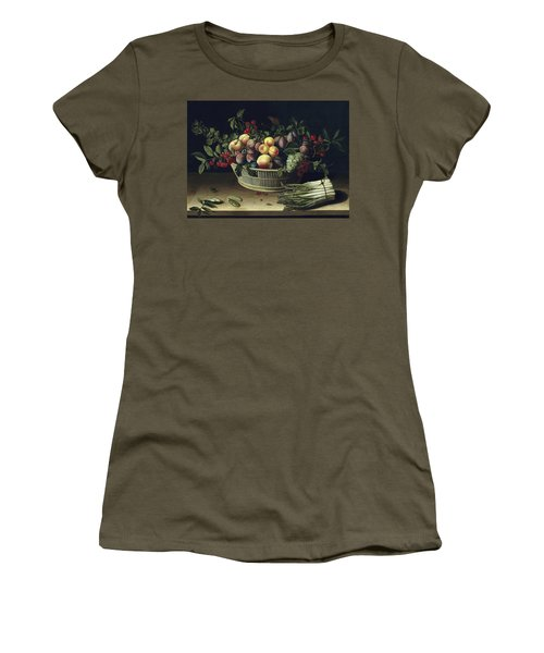 Still Life With A Basket Of Fruit And A Bunch Of Asparagus Women's T-Shirt (Junior Cut) by Louise Moillon