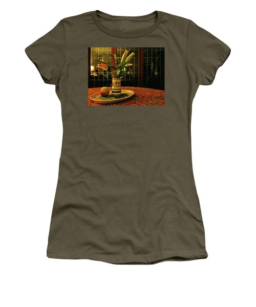 Women's T-Shirt (Athletic Fit) featuring the photograph Still Life With Apple by Anne Kotan