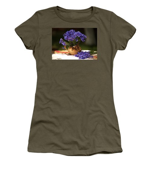 Still Life With Blue Flowers Women's T-Shirt (Athletic Fit)