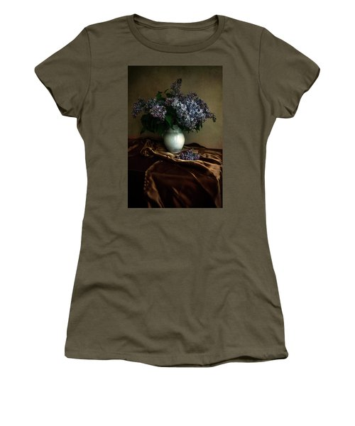 Women's T-Shirt (Junior Cut) featuring the photograph Still Life With Bouqet Of Fresh Lilac by Jaroslaw Blaminsky