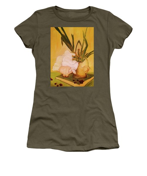 Still Life With Funny Sheep Women's T-Shirt (Athletic Fit)