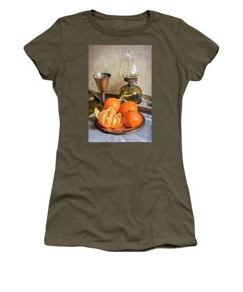 Women's T-Shirt (Junior Cut) featuring the photograph Still Life With Oil Lamp And Fresh Tangerines by Jaroslaw Blaminsky