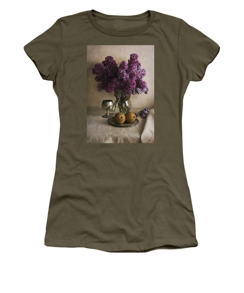 Women's T-Shirt (Junior Cut) featuring the photograph Still Life With Pears And Fresh Lilac by Jaroslaw Blaminsky