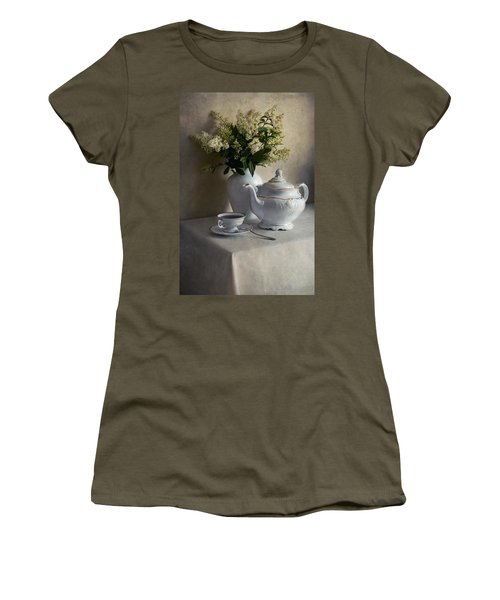 Still Life With White Tea Set And Bouquet Of White Flowers Women's T-Shirt