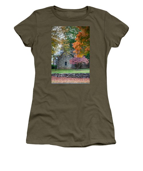 Women's T-Shirt featuring the photograph Stone Church In Pomfret Ct In Autumn by Jeff Folger