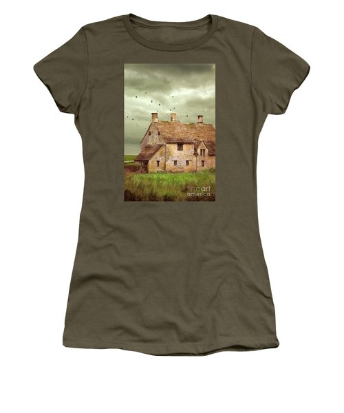 Stone Cottage And Stormy Sky Women's T-Shirt (Junior Cut) by Jill Battaglia