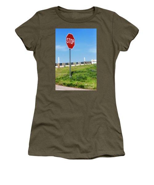 Stop For The Blue Bonnets Women's T-Shirt (Junior Cut) by Joan Bertucci