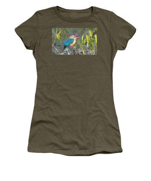 Stork-billed Kingfisher Women's T-Shirt (Junior Cut) by Pravine Chester
