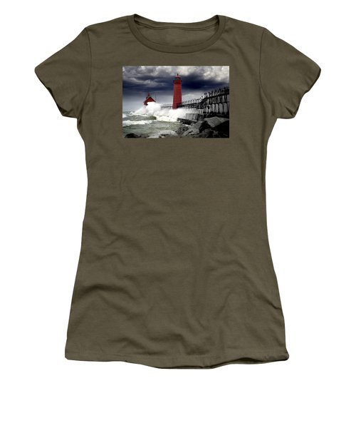 Storm At The Grand Haven Lighthouse Women's T-Shirt