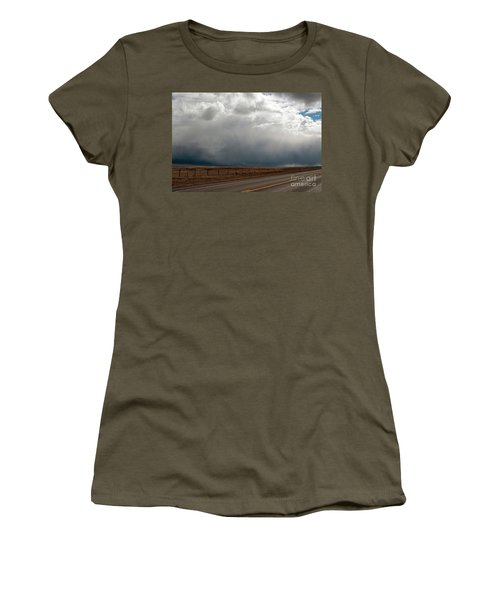 Storm On Route 287 N Of Ennis Mt Women's T-Shirt (Athletic Fit)