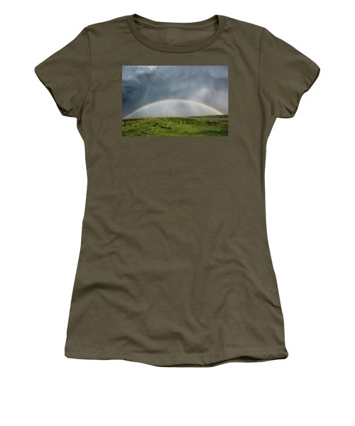 Women's T-Shirt (Junior Cut) featuring the photograph Stormy Rainbow by Ryan Crouse