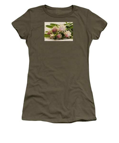 Straw Flowers And Lace Women's T-Shirt (Junior Cut) by Sandra Foster