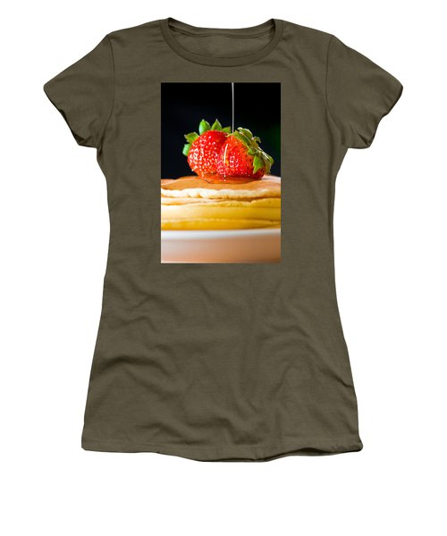 Strawberry Butter Pancake With Honey Maple Sirup Flowing Down Women's T-Shirt (Athletic Fit)
