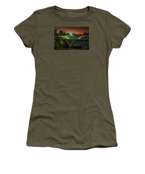 Street Light On Rogue River Bridge Women's T-Shirt (Junior Cut) by Jerry Cowart