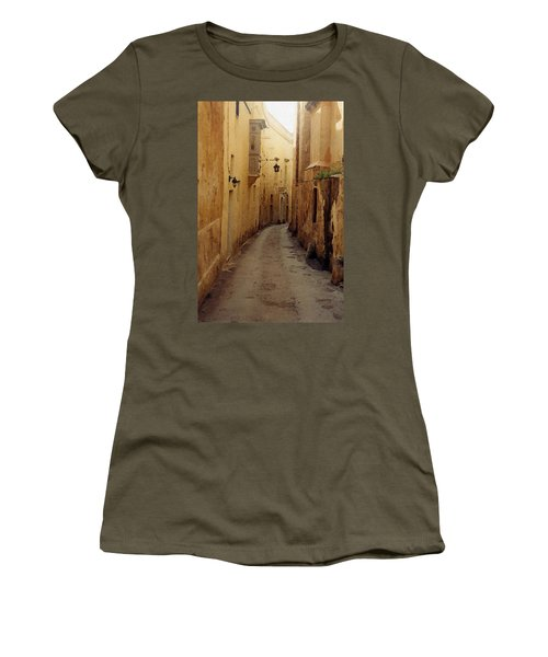 Women's T-Shirt (Junior Cut) featuring the photograph Streets Of Malta by Debbie Karnes