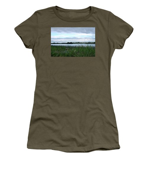 Women's T-Shirt (Junior Cut) featuring the photograph Strolling By The Lake by Terence Davis