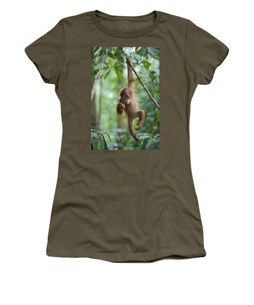 Women's T-Shirt featuring the photograph Sumatran Orangutan Pongo Abelii One by Suzi Eszterhas