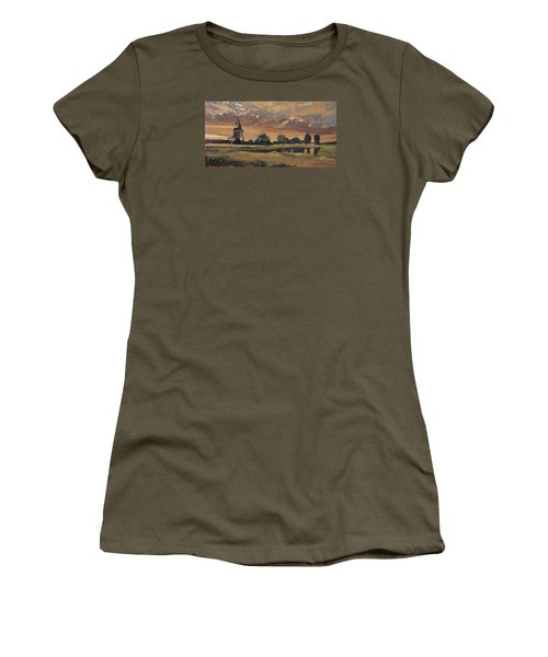 Women's T-Shirt (Junior Cut) featuring the painting Summer Evening In The Polder by Nop Briex