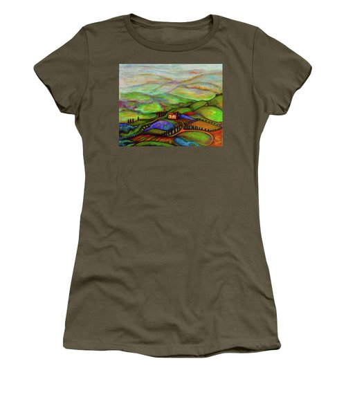 Women's T-Shirt (Junior Cut) featuring the painting Summer Hills by Rae Chichilnitsky