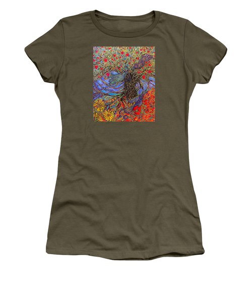 Women's T-Shirt (Junior Cut) featuring the painting Enchanted Garden by Rae Chichilnitsky