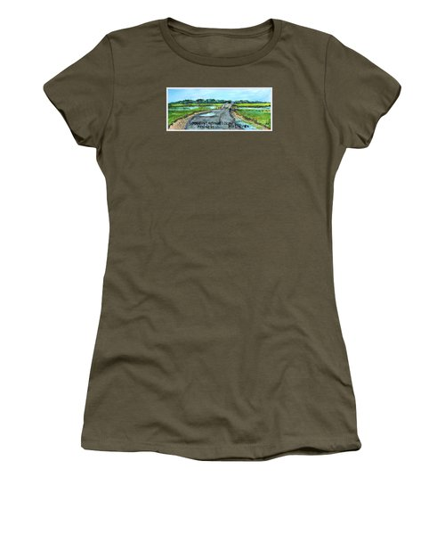 Women's T-Shirt (Junior Cut) featuring the painting Summer On Lieutenant's Island by Rita Brown