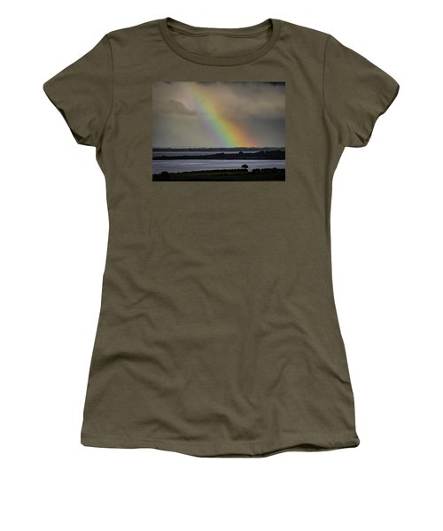 Women's T-Shirt (Athletic Fit) featuring the photograph Summer Rainbow Over Shannon Estuary by James Truett