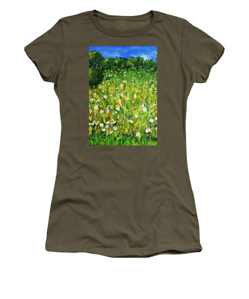 Women's T-Shirt (Junior Cut) featuring the painting The Glade by Evelina Popilian