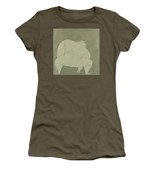 Women's T-Shirt (Athletic Fit) featuring the painting Sumo Wrestler by Ben Gertsberg
