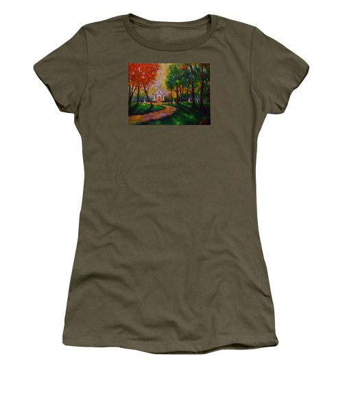 Women's T-Shirt (Junior Cut) featuring the painting Sunday School by Emery Franklin