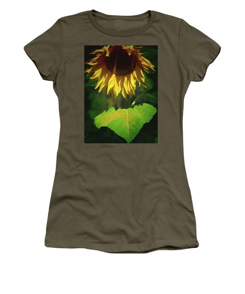 Sunflower And Gold Leaf - Beauty In The Garden - Floral Photography Women's T-Shirt (Athletic Fit)