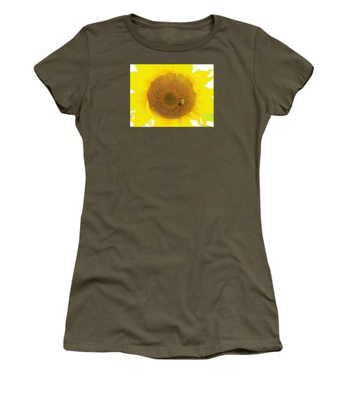 Sunflower And The Happy Bee Women's T-Shirt (Athletic Fit)
