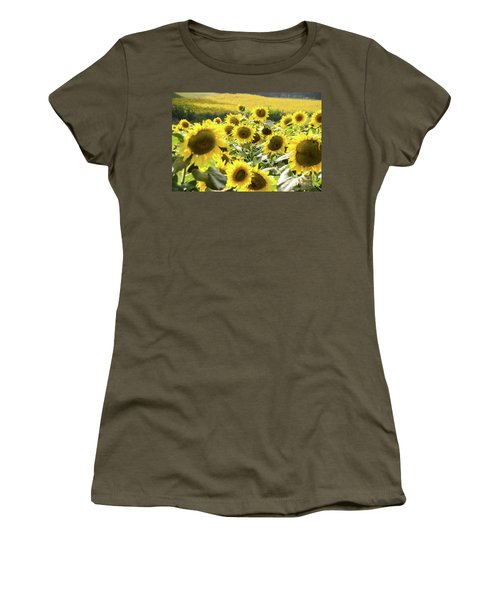 Women's T-Shirt (Athletic Fit) featuring the photograph Sunflowers 13 by Andrea Anderegg
