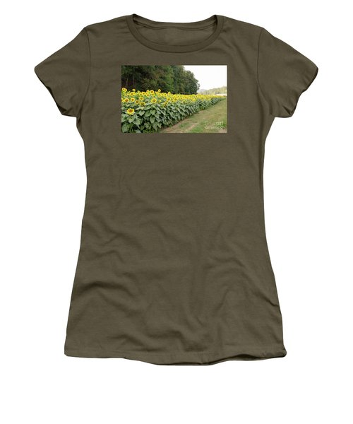 Women's T-Shirt (Athletic Fit) featuring the photograph  Sunflowers 6 by Andrea Anderegg
