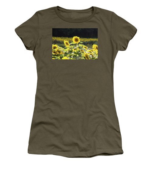 Women's T-Shirt (Athletic Fit) featuring the photograph Sunflowers 9 by Andrea Anderegg
