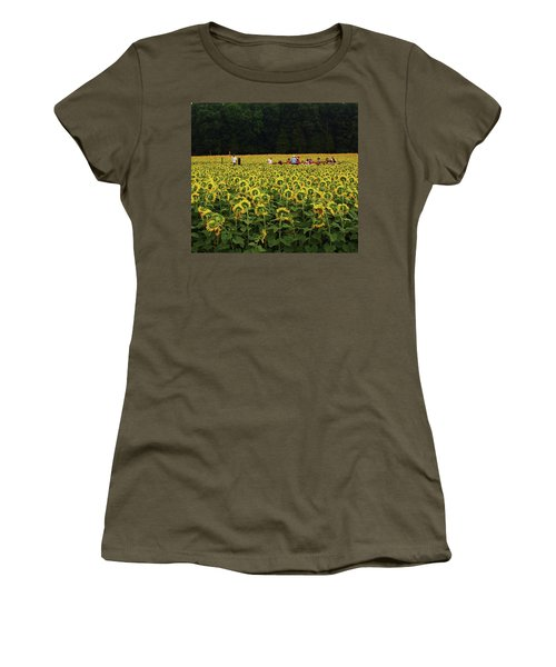 Women's T-Shirt (Junior Cut) featuring the photograph Sunflowers Everywhere by John Scates